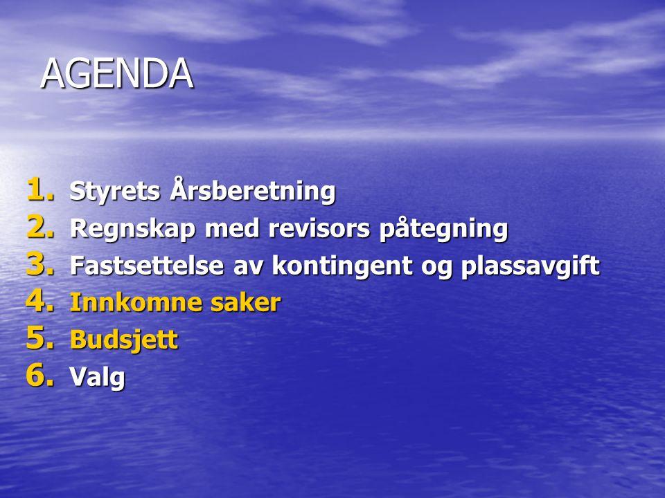 AGENDA 1. Styrets Årsberetning 2. Regnskap med revisors påtegning 3.