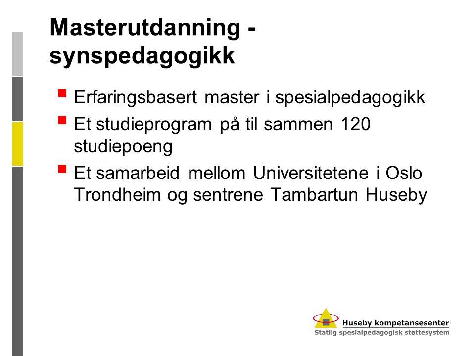 Masterutdanning - synspedagogikk  Erfaringsbasert master i spesialpedagogikk  Et studieprogram på til sammen 120 studiepoeng  Et samarbeid mellom U