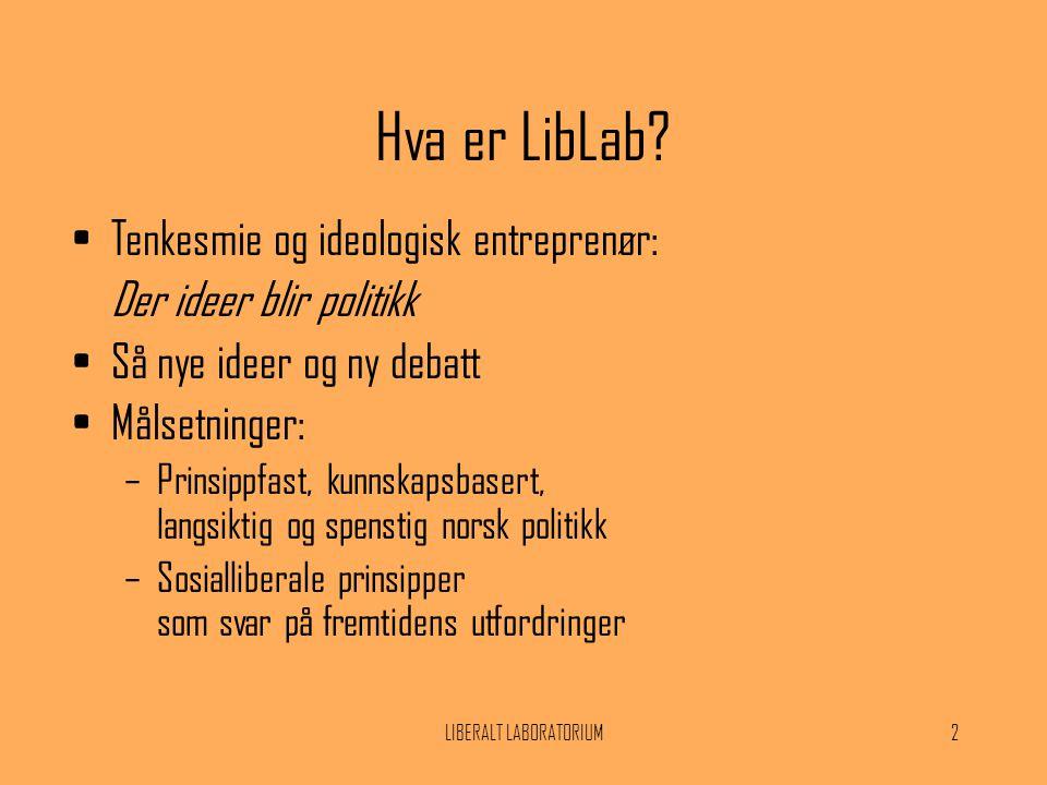 LIBERALT LABORATORIUM2 Hva er LibLab? •Tenkesmie og ideologisk entreprenør: Der ideer blir politikk •Så nye ideer og ny debatt •Målsetninger: –Prinsip