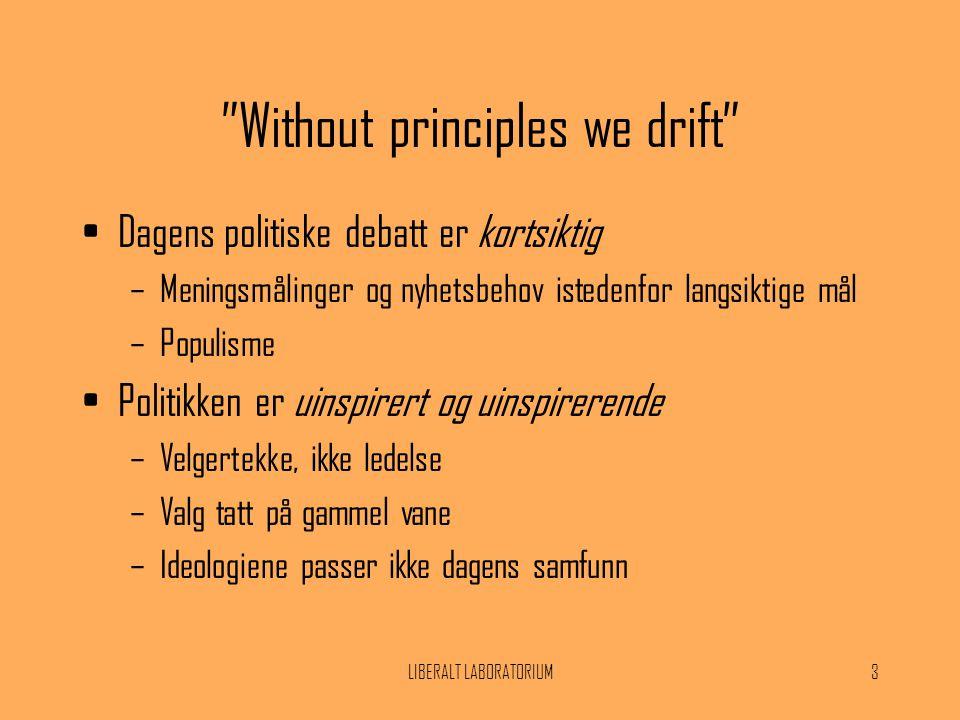 """LIBERALT LABORATORIUM3 """"Without principles we drift"""" •Dagens politiske debatt er kortsiktig –Meningsmålinger og nyhetsbehov istedenfor langsiktige mål"""