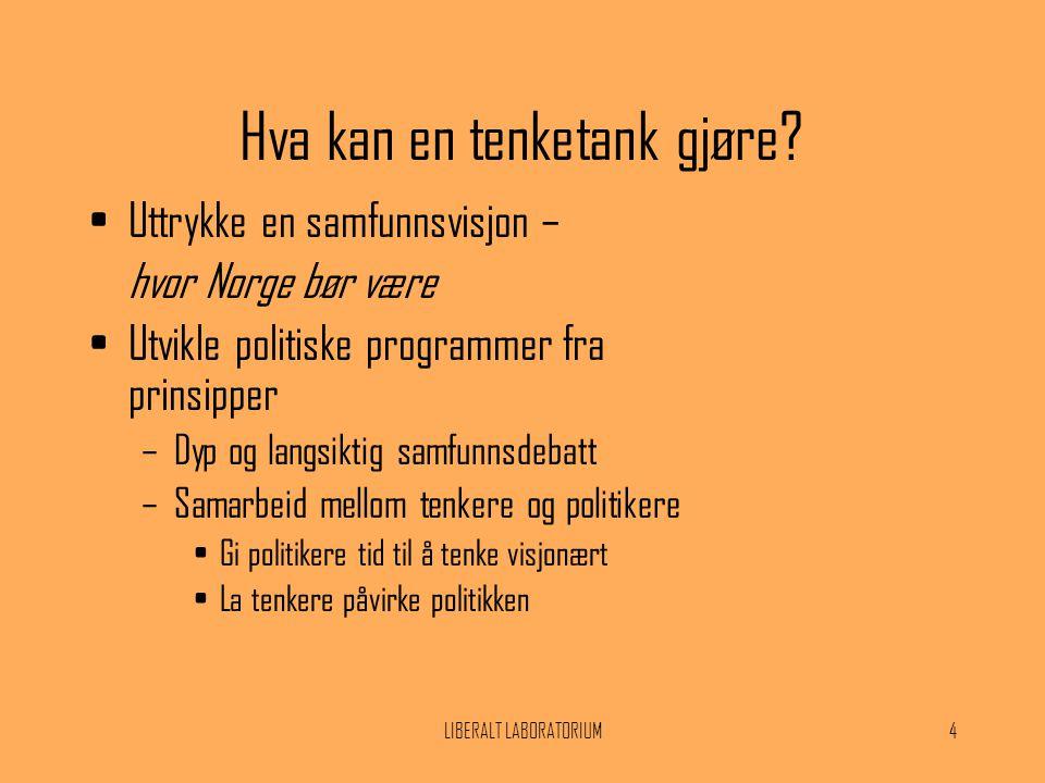 LIBERALT LABORATORIUM4 Hva kan en tenketank gjøre? •Uttrykke en samfunnsvisjon – hvor Norge bør være •Utvikle politiske programmer fra prinsipper –Dyp