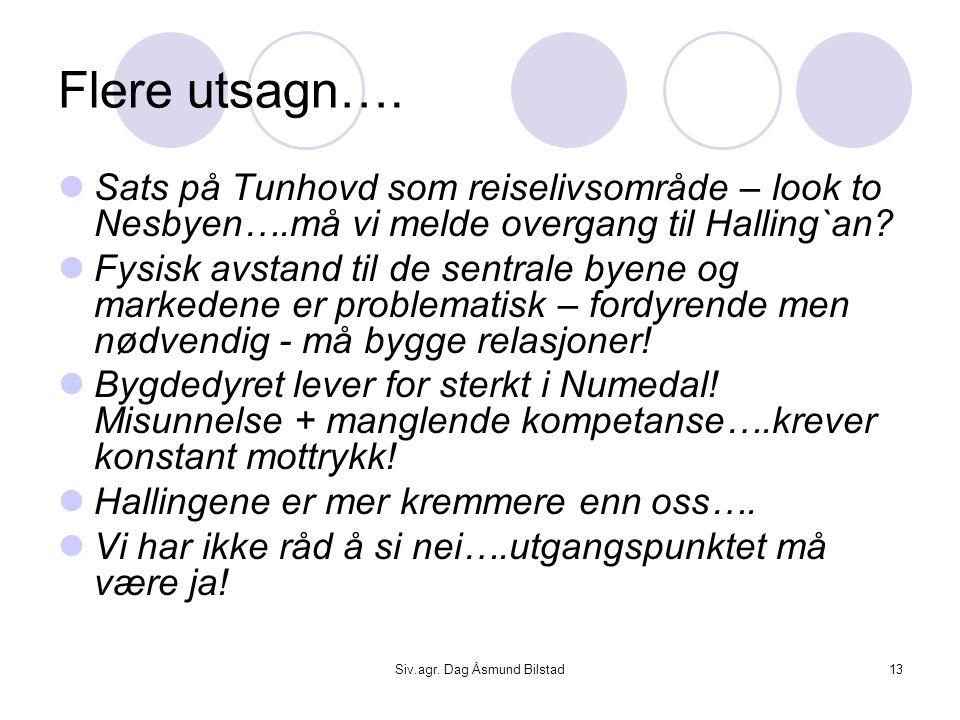Siv.agr. Dag Åsmund Bilstad13 Flere utsagn….