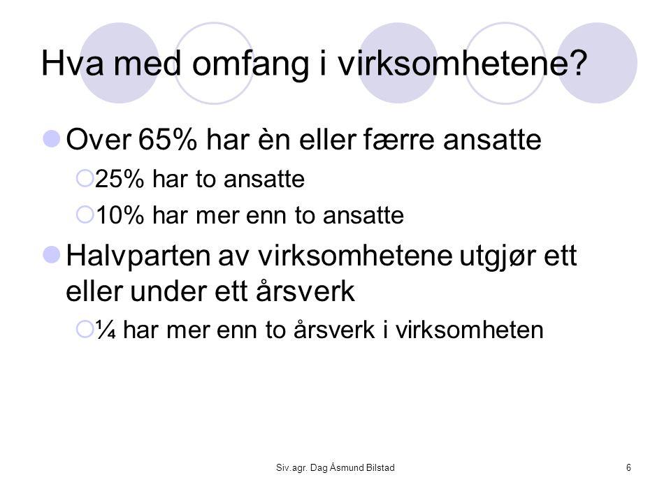 Siv.agr. Dag Åsmund Bilstad6 Hva med omfang i virksomhetene?  Over 65% har èn eller færre ansatte  25% har to ansatte  10% har mer enn to ansatte 