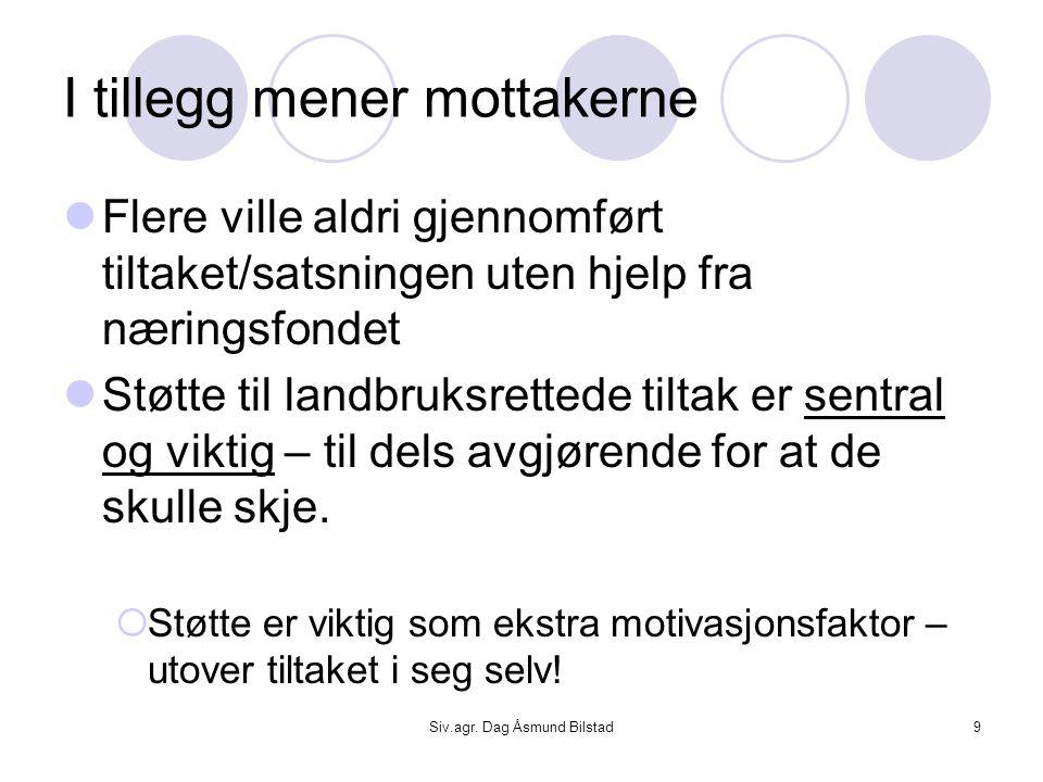 Siv.agr. Dag Åsmund Bilstad9 I tillegg mener mottakerne  Flere ville aldri gjennomført tiltaket/satsningen uten hjelp fra næringsfondet  Støtte til