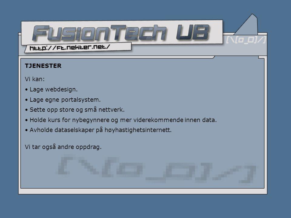 TJENESTER Vi kan: • Lage webdesign. • Lage egne portalsystem.