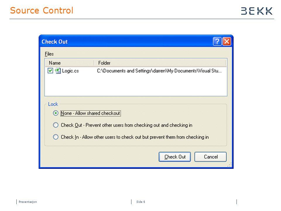 Presentasjon Side 16 Oppsett av Continuous Integration med byggestatus  Installer TFS Build Service  Installer VS 2005 Team Suite på server eller  VS 2005 Team Edition for Software Developers (kode analyse/fxCop) + VS 2005 Team Edition for Testers (Code Coverage)  Installer VS 2005 Web Deployment Projects lokalt og på server  Last ned ci.zip fra www.hamang.netwww.hamang.net  Opprett WebSite for CI.