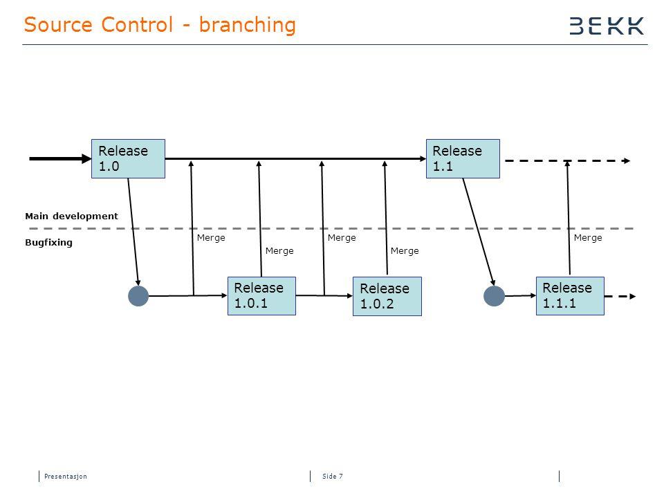 Presentasjon Side 7 Source Control - branching Release 1.0 Release 1.0.1 Release 1.0.2 Release 1.1 Main development Bugfixing Release 1.1.1 Merge
