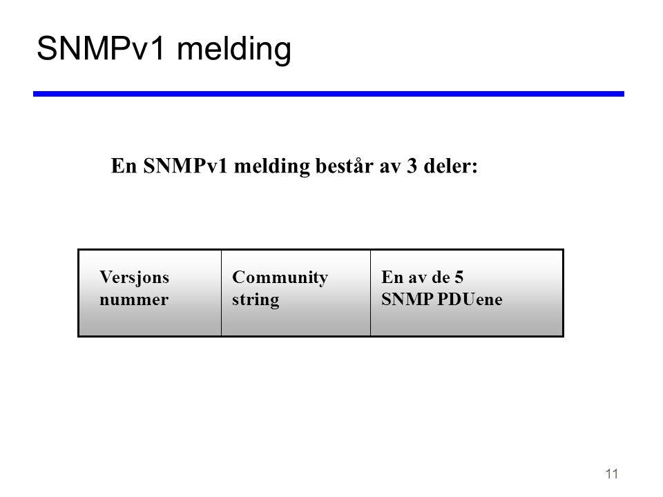 11 SNMPv1 melding En SNMPv1 melding består av 3 deler: Versjons nummer Community string En av de 5 SNMP PDUene