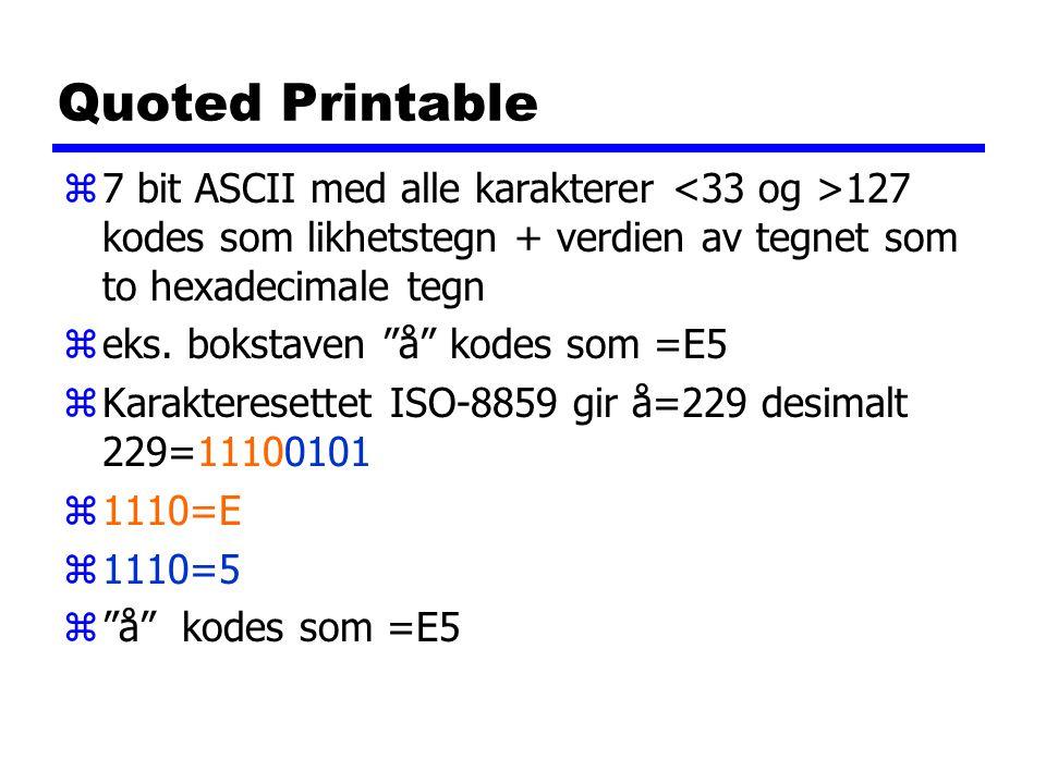 Quoted Printable z7 bit ASCII med alle karakterer 127 kodes som likhetstegn + verdien av tegnet som to hexadecimale tegn zeks.