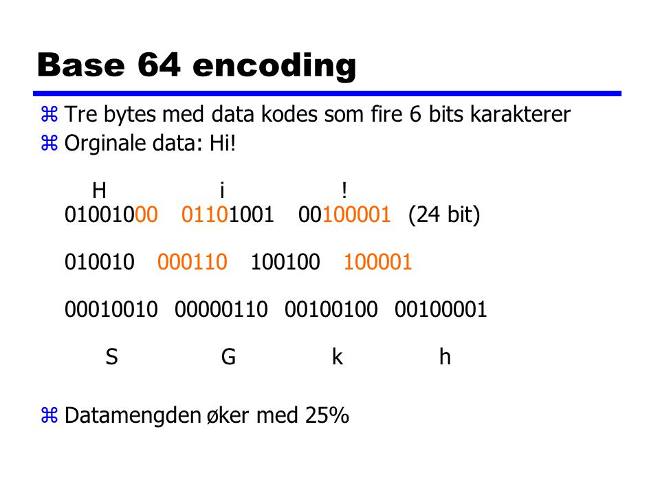 Base 64 encoding zTre bytes med data kodes som fire 6 bits karakterer zOrginale data: Hi.