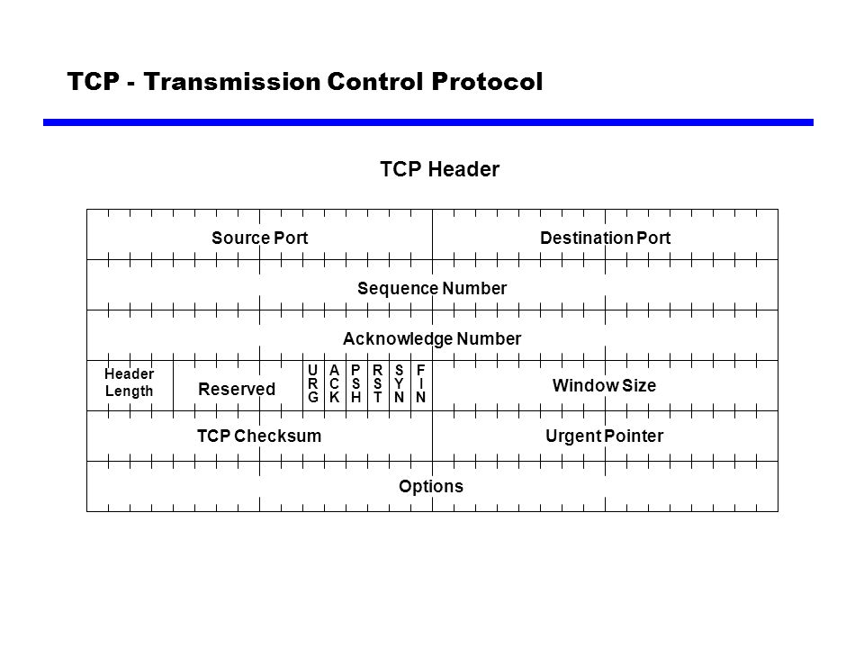 TCP - Transmission Control Protocol Source Port TCP Header Destination Port Sequence Number Acknowledge Number Header Length Reserved URGURG ACKACK PSHPSH RSTRST SYNSYN FINFIN Window Size TCP ChecksumUrgent Pointer Options