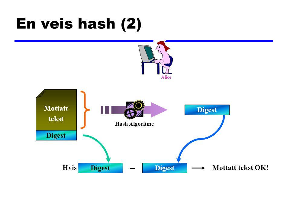 En veis hash (2) Mottatt tekst Digest Hvis = Mottatt tekst OK! Digest Hash Algoritme Alice