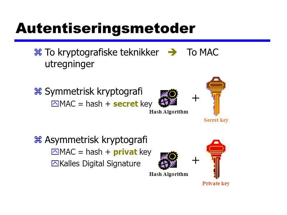 Autentiseringsmetoder zTo kryptografiske teknikker  To MAC utregninger zSymmetrisk kryptografi yMAC = hash + secret key zAsymmetrisk kryptografi yMAC = hash + privat key yKalles Digital Signature Hash Algorithm Secret key + Hash Algorithm + Private key