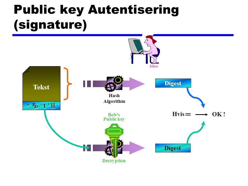Public key Autentisering (signature) Digest Tekst *  ^1 '  Hvis = OK .