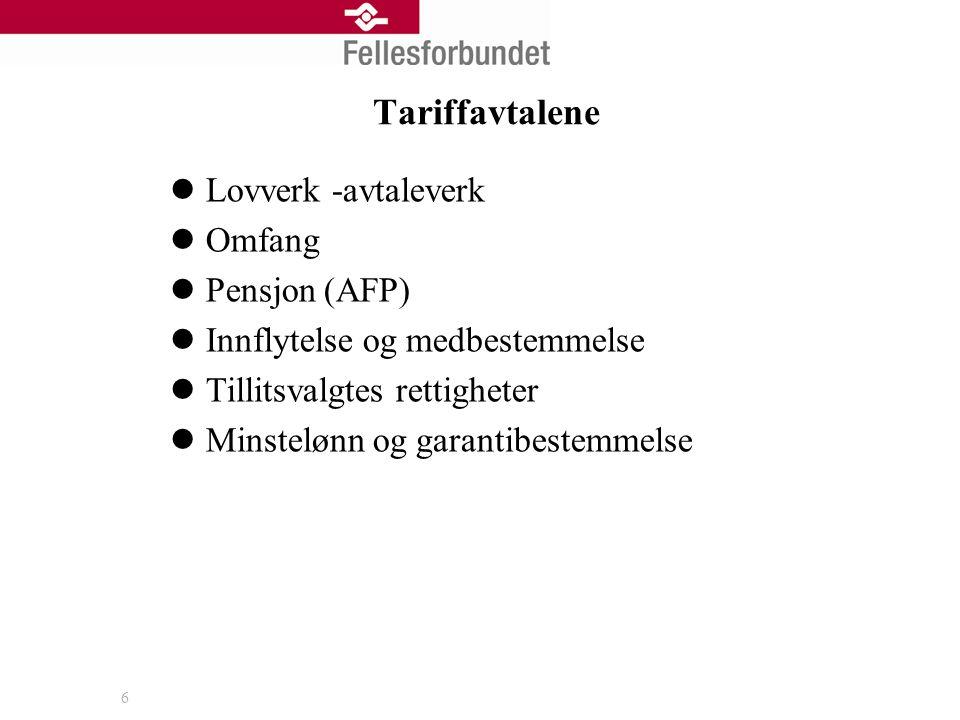 6 Tariffavtalene  Lovverk -avtaleverk  Omfang  Pensjon (AFP)  Innflytelse og medbestemmelse  Tillitsvalgtes rettigheter  Minstelønn og garantibestemmelse