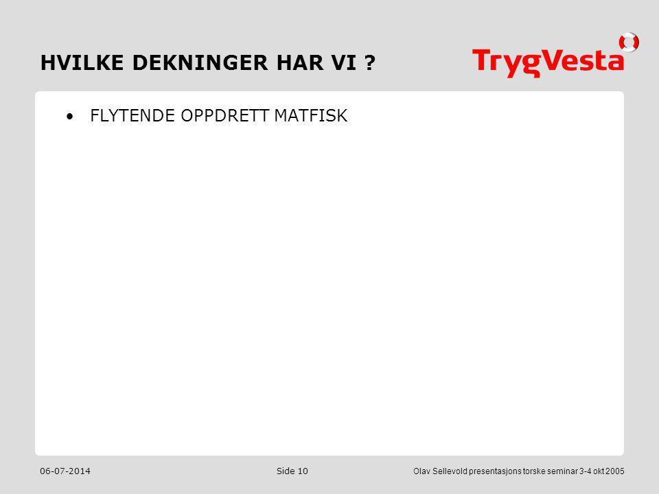 06-07-2014Olav Sellevold presentasjons torske seminar 3-4 okt 2005 Side 10 HVILKE DEKNINGER HAR VI ? •FLYTENDE OPPDRETT MATFISK