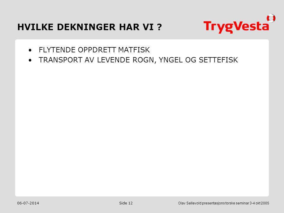 06-07-2014Olav Sellevold presentasjons torske seminar 3-4 okt 2005 Side 12 HVILKE DEKNINGER HAR VI ? •FLYTENDE OPPDRETT MATFISK •TRANSPORT AV LEVENDE