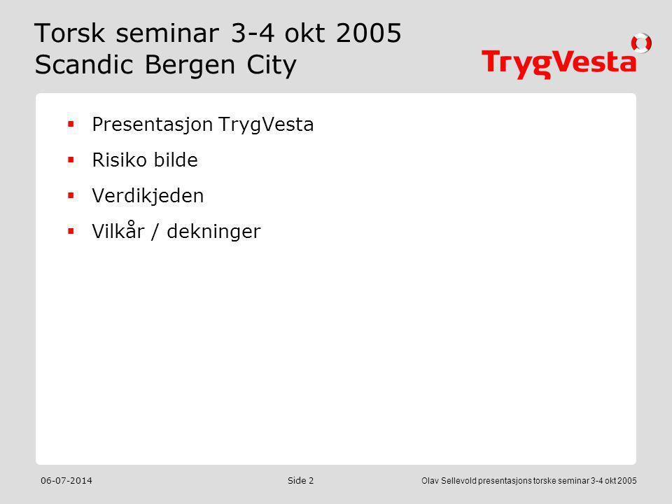 06-07-2014Olav Sellevold presentasjons torske seminar 3-4 okt 2005 Side 2 Torsk seminar 3-4 okt 2005 Scandic Bergen City  Presentasjon TrygVesta  Ri