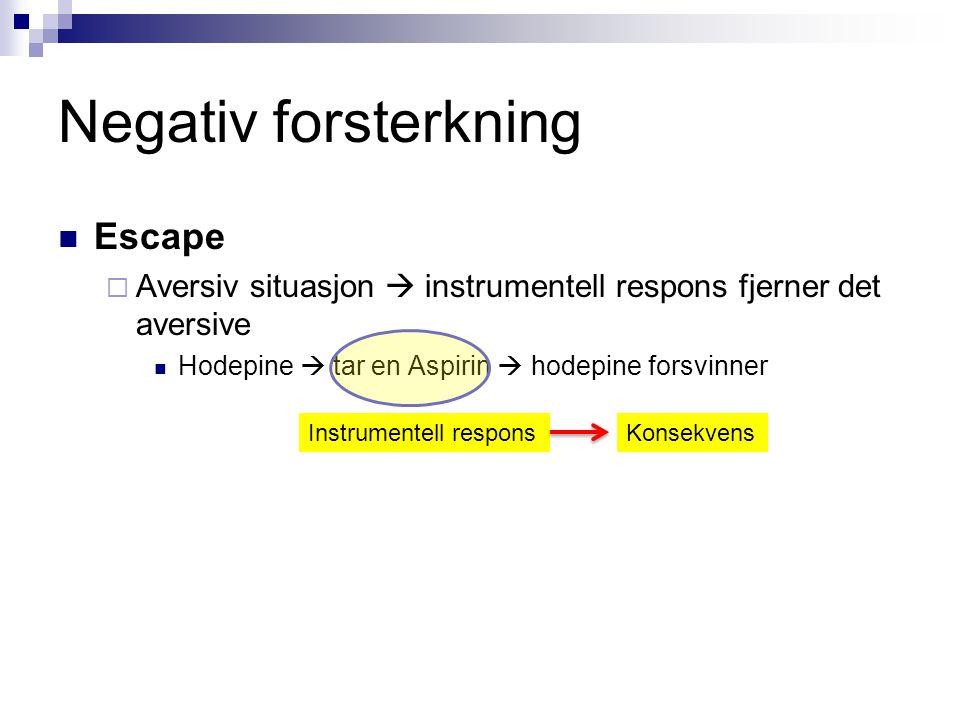 Negativ forsterkning  Escape  Aversiv situasjon  instrumentell respons fjerner det aversive  Hodepine  tar en Aspirin  hodepine forsvinner Instr