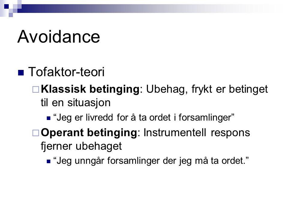 Avoidance – tofaktor-teori  Frykt etableres ved klassisk betinging  Snakke i forsamling  fryktreaksjon: BS – BR - US  Tanken på å snakke: BS  BR  Det å faktisk snakke i forsamling: US  UR  Frykt fjernes/reduseres ved operant betinging  Forsamling  flukt (ESCAPE) US fjernes  Unngå forsamling  unngåelse (AVOIDANCE) BS fjernes Avoidance = escape fra BS!