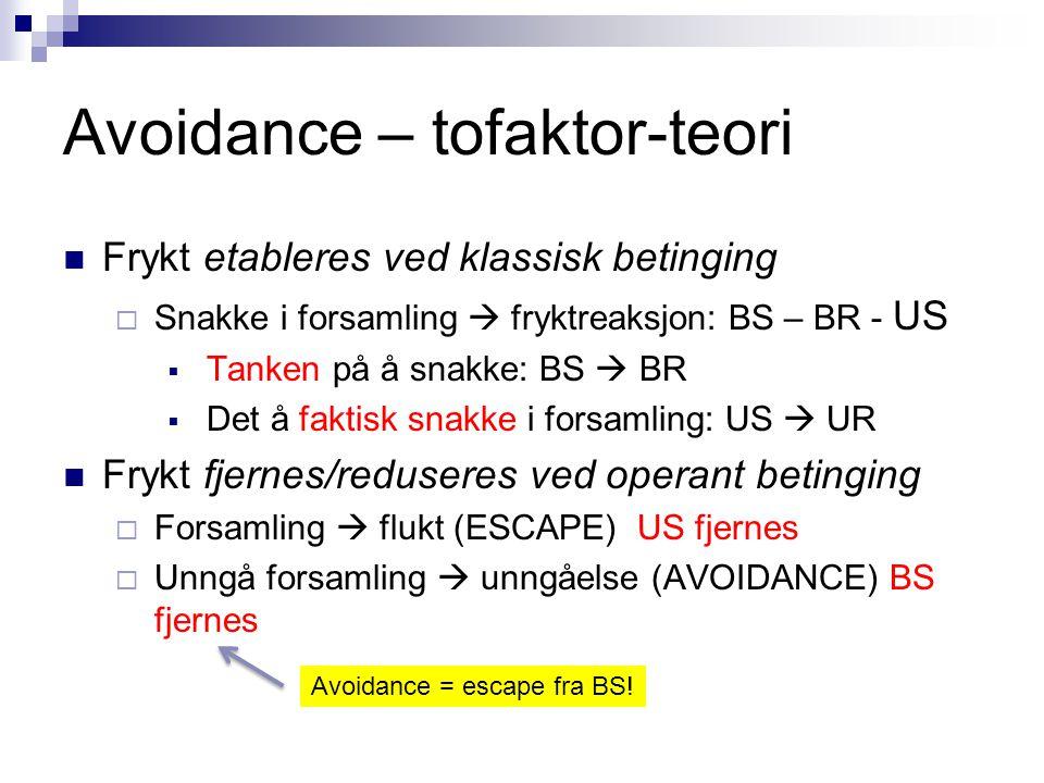 Avoidance – tofaktorteori - problem  Effektiv unngåelse = ekstinksjon av BR  BS  BR  Instrumentell respons som hindrer US  Effektiv unngåelse = man opplever aldri den faktiske fryktstuasjonen = ekstinksjon av BR = bortfall av avoidance- responsen  Ny runde: Man opplever igjen den faktiske fryktsituasjonen  ny avoidance-læring  Dvs: Teorien predikerer en syklisk runddans  Dette skjer ikke – avoidance-responsen ekstingveres aldri Maia, 2012 BR svekkes