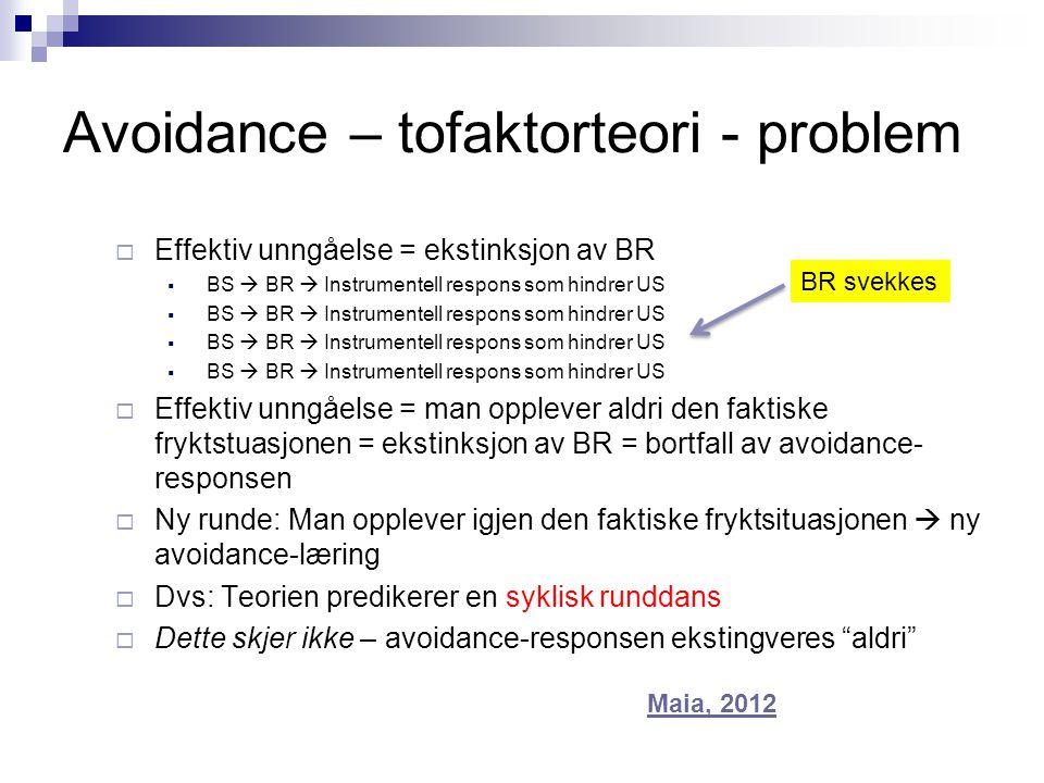 Avoidance – tofaktorteori - problem  Effektiv unngåelse = ekstinksjon av BR  BS  BR  Instrumentell respons som hindrer US  Effektiv unngåelse = m