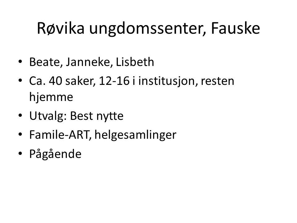 Røvika ungdomssenter, Fauske • Beate, Janneke, Lisbeth • Ca. 40 saker, 12-16 i institusjon, resten hjemme • Utvalg: Best nytte • Famile-ART, helgesaml