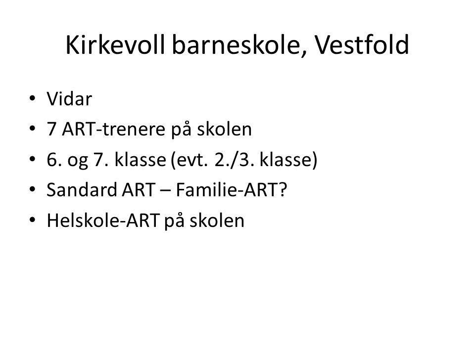 Kirkevoll barneskole, Vestfold • Vidar • 7 ART-trenere på skolen • 6. og 7. klasse (evt. 2./3. klasse) • Sandard ART – Familie-ART? • Helskole-ART på