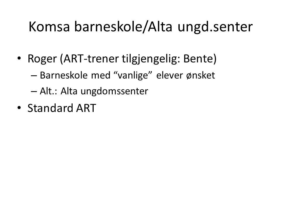 "Komsa barneskole/Alta ungd.senter • Roger (ART-trener tilgjengelig: Bente) – Barneskole med ""vanlige"" elever ønsket – Alt.: Alta ungdomssenter • Stand"