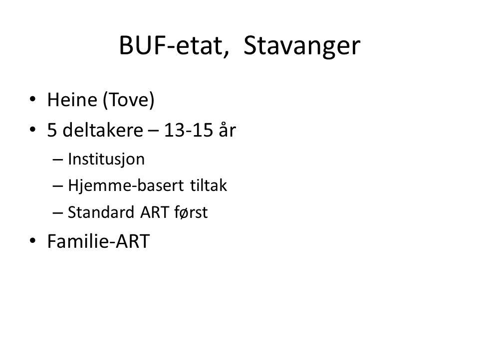 BUF-etat, Stavanger • Heine (Tove) • 5 deltakere – 13-15 år – Institusjon – Hjemme-basert tiltak – Standard ART først • Familie-ART