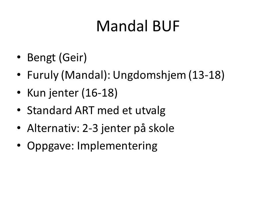 Mandal BUF • Bengt (Geir) • Furuly (Mandal): Ungdomshjem (13-18) • Kun jenter (16-18) • Standard ART med et utvalg • Alternativ: 2-3 jenter på skole •
