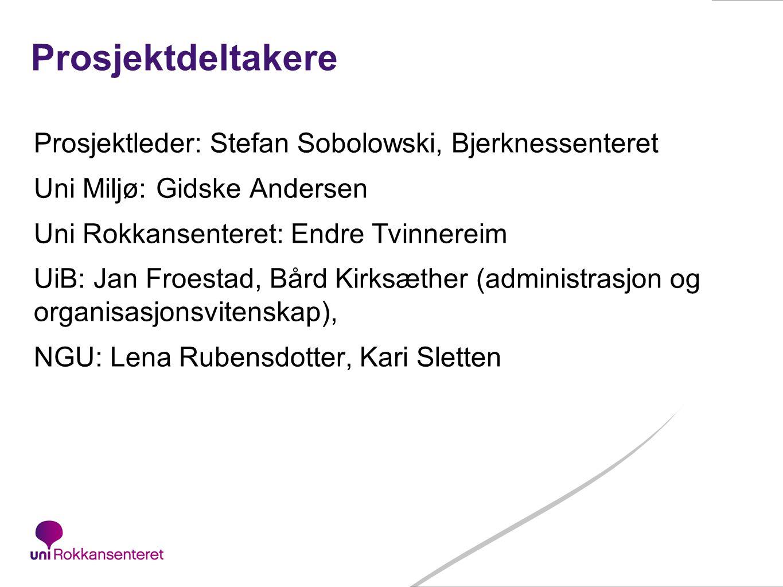 50 Prosjektdeltakere Prosjektleder: Stefan Sobolowski, Bjerknessenteret Uni Miljø: Gidske Andersen Uni Rokkansenteret: Endre Tvinnereim UiB: Jan Froes