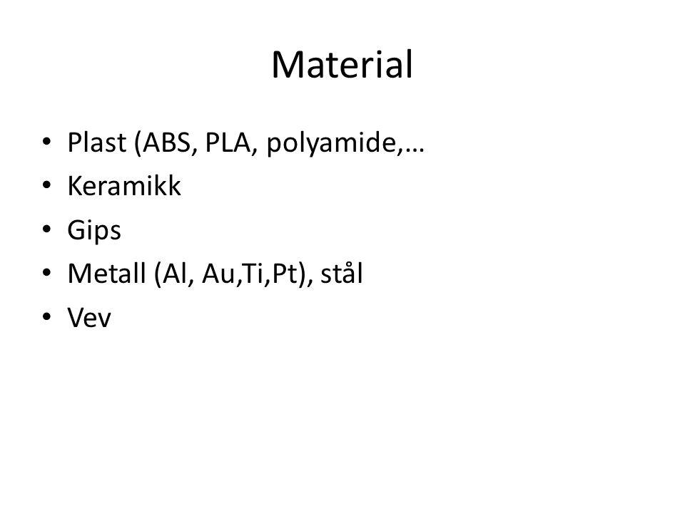 Material • Plast (ABS, PLA, polyamide,… • Keramikk • Gips • Metall (Al, Au,Ti,Pt), stål • Vev