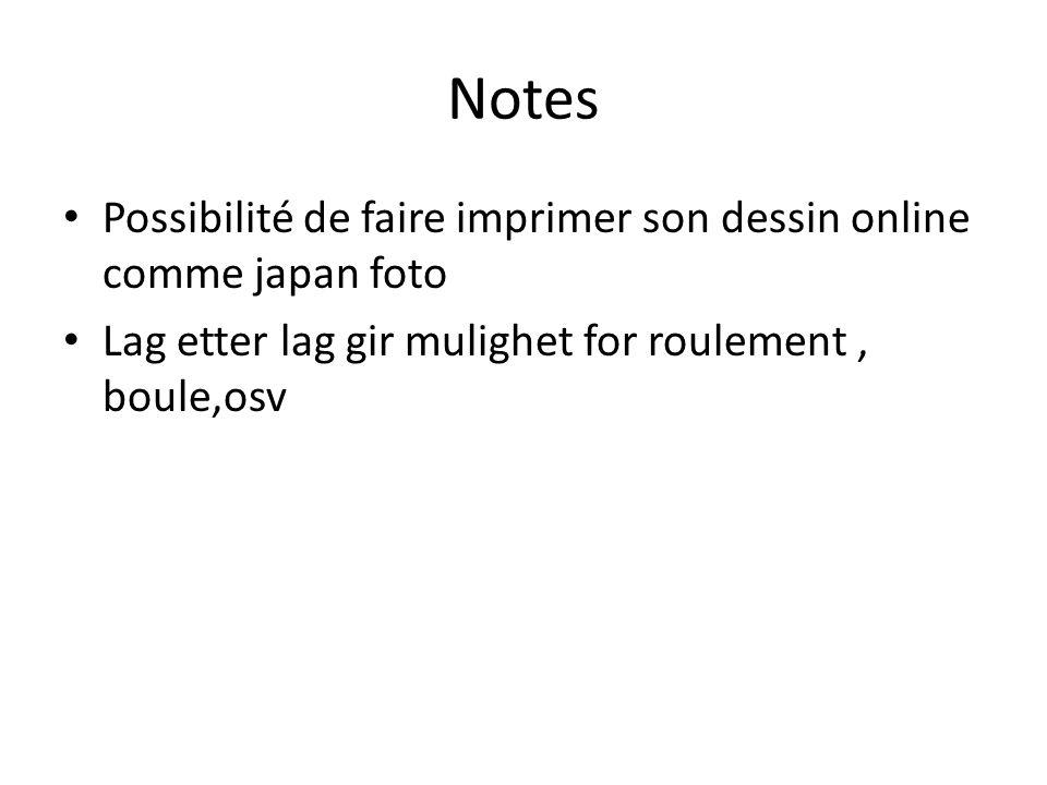 Notes • Possibilité de faire imprimer son dessin online comme japan foto • Lag etter lag gir mulighet for roulement, boule,osv