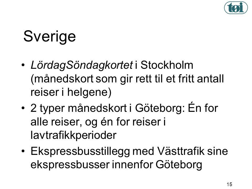 15 Sverige • LördagSöndagkortet i Stockholm (månedskort som gir rett til et fritt antall reiser i helgene) • 2 typer månedskort i Göteborg: Én for all