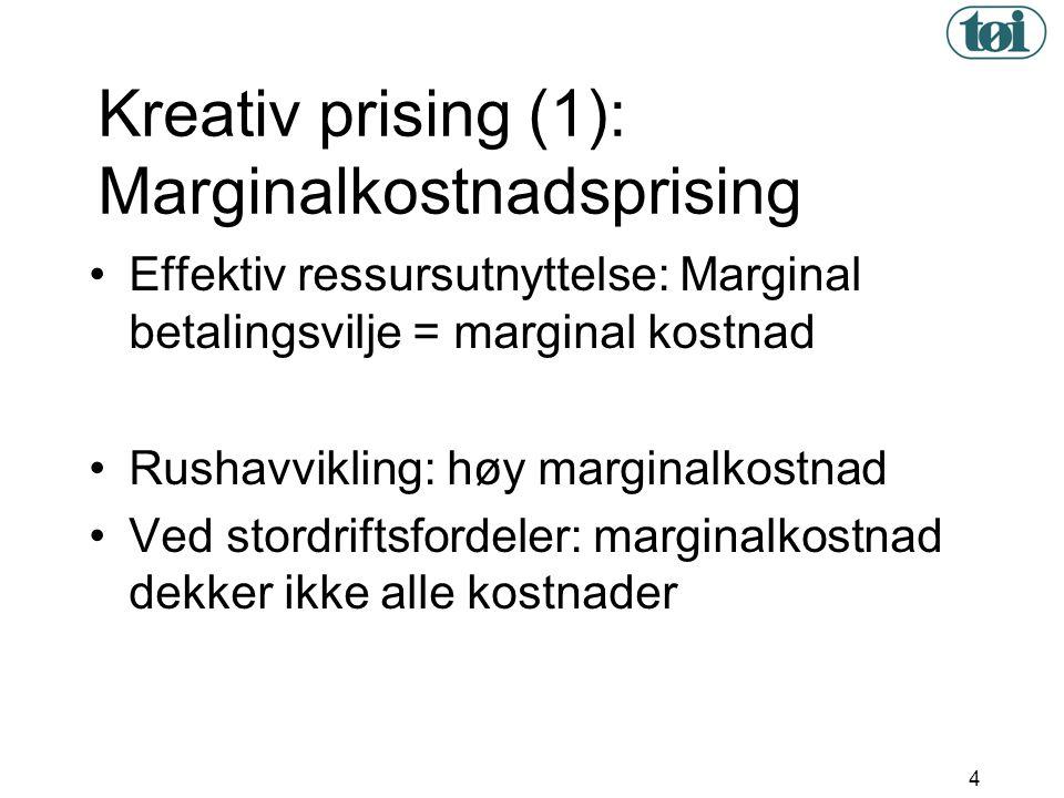 4 Kreativ prising (1): Marginalkostnadsprising •Effektiv ressursutnyttelse: Marginal betalingsvilje = marginal kostnad •Rushavvikling: høy marginalkos