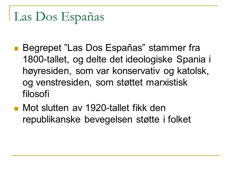 Las Dos Españas  Begrepet Las Dos Españas stammer fra 1800-tallet, og delte det ideologiske Spania i høyresiden, som var konservativ og katolsk, og venstresiden, som støttet marxistisk filosofi  Mot slutten av 1920-tallet fikk den republikanske bevegelsen støtte i folket