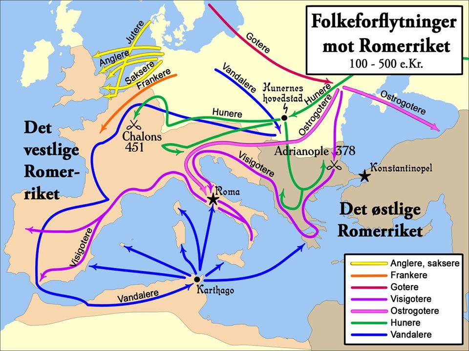 """Folkevandringene  I Vest-Europa kalles tiden mellom 400-600 for """"Folkevandringstiden""""  Folketallet sank, byene ble mindre og handelen avtok i hele V"""