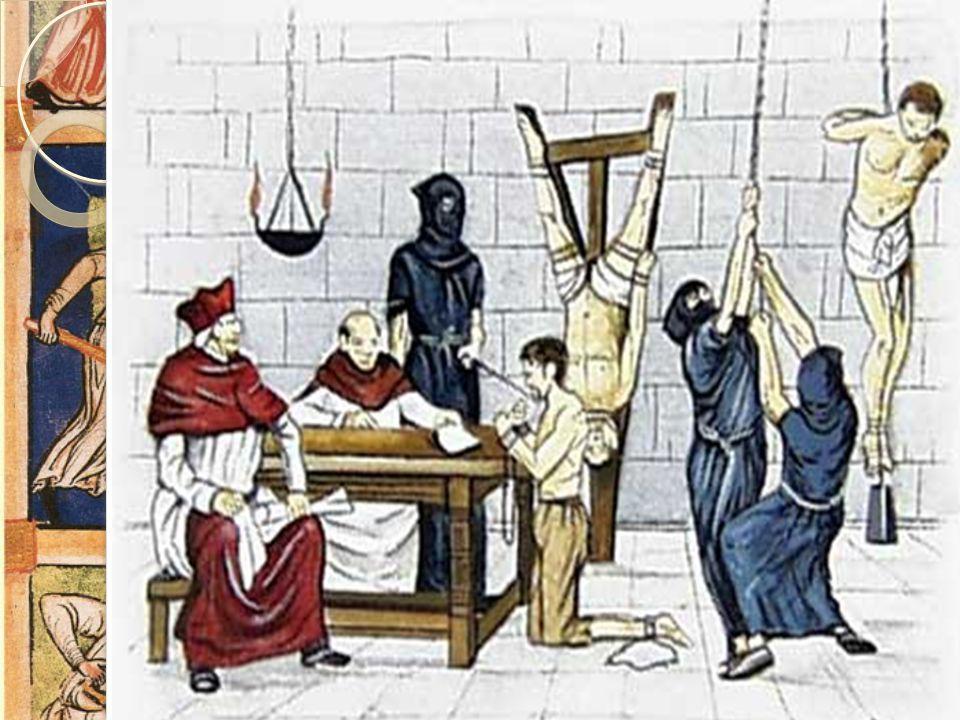 Inkvisisjonen  Pavemaktens egen domstol  Avgjorde hva som var rett tro  Brukte tortur under avhør  Dom var ofte brenning på bålet  I Spania gikk
