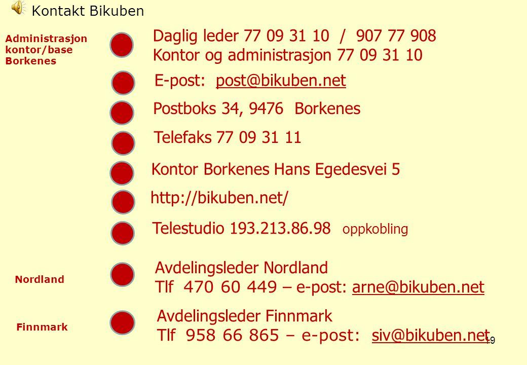 18 Husk •Bikuben er et tilbud for hele nord Norge •Bikubens regionale funksjon legger til rette for at både store og mindre kommuner kan nyttiggjøre seg av senterets tilbud •Våre kurs er åpne for alle, og betinger ikke medlemskap i interesseorganisasjoner