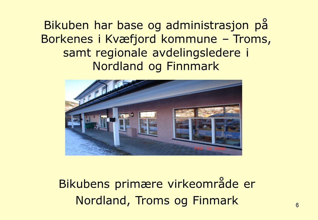 6 Bikubens primære virkeområde er Nordland, Troms og Finmark Bikuben har base og administrasjon på Borkenes i Kvæfjord kommune – Troms, samt regionale avdelingsledere i Nordland og Finnmark