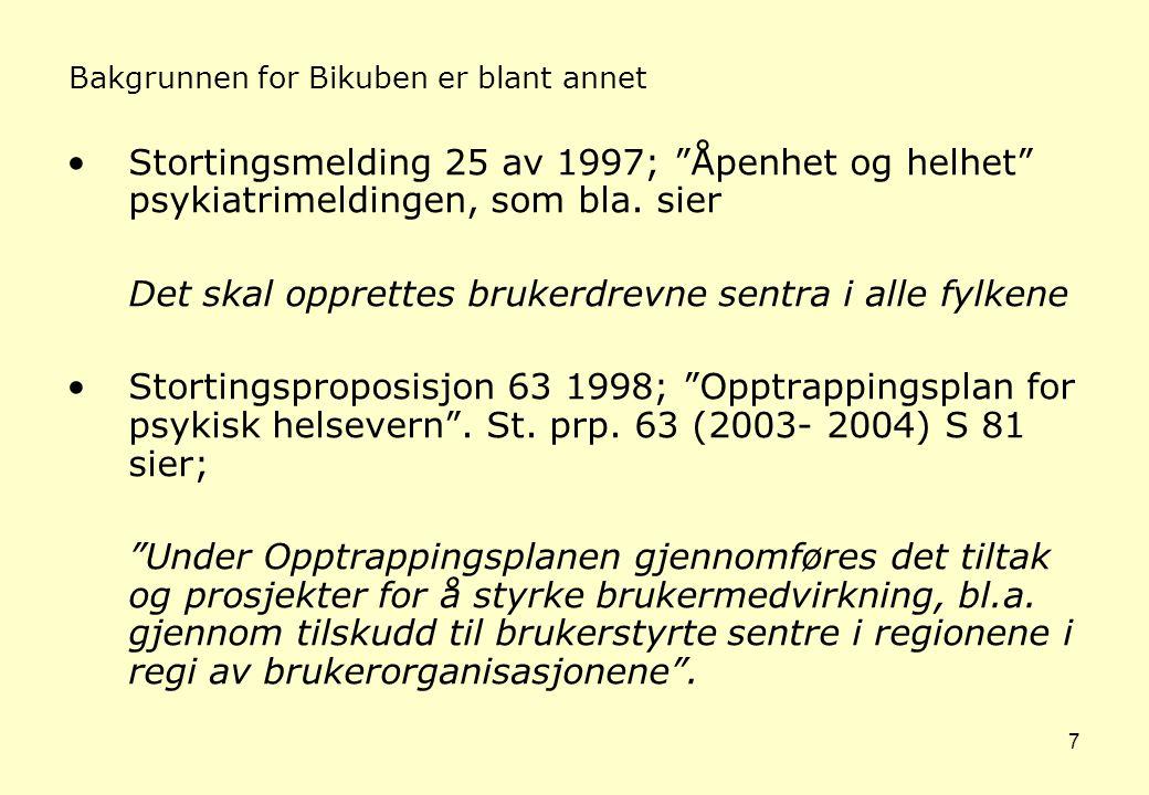 7 Bakgrunnen for Bikuben er blant annet •Stortingsmelding 25 av 1997; Åpenhet og helhet psykiatrimeldingen, som bla.