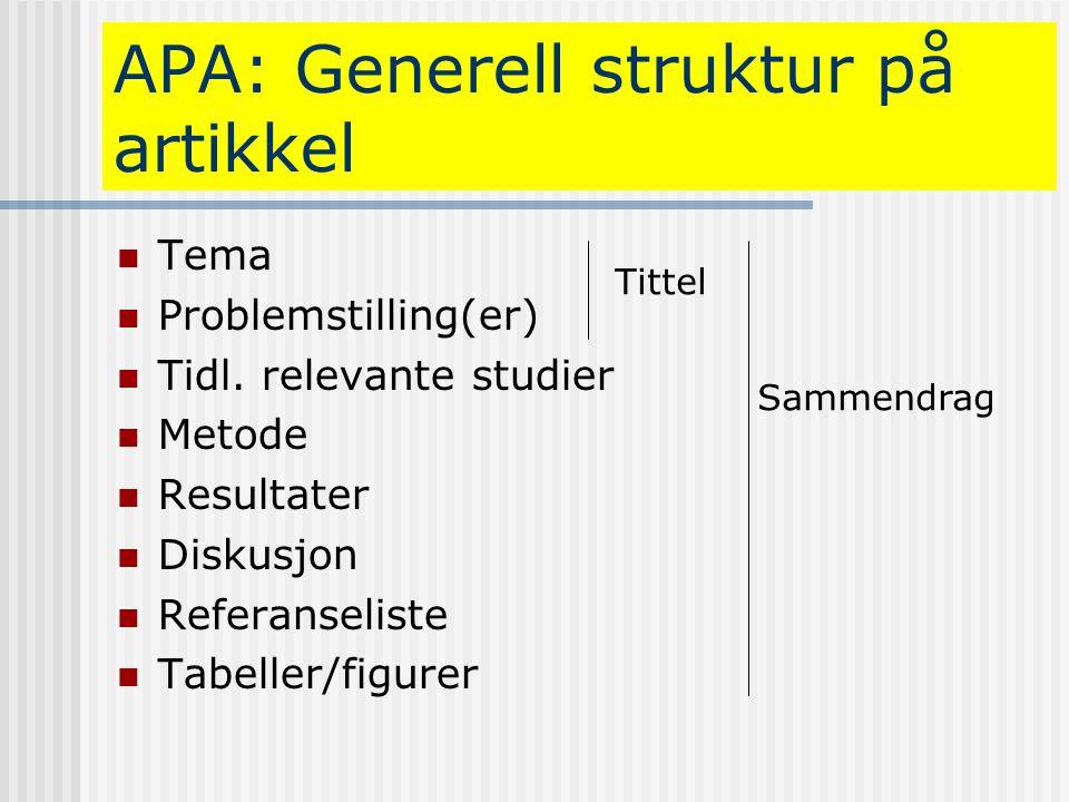 APA: Generell struktur på artikkel  Tema  Problemstilling(er)  Tidl. relevante studier  Metode  Resultater  Diskusjon  Referanseliste  Tabelle
