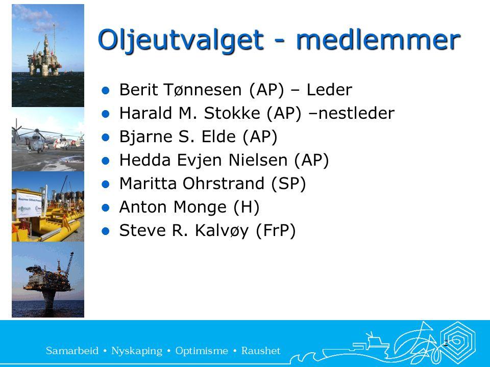 Oljeutvalget - medlemmer  Berit Tønnesen (AP) – Leder  Harald M. Stokke (AP) –nestleder  Bjarne S. Elde (AP)  Hedda Evjen Nielsen (AP)  Maritta O