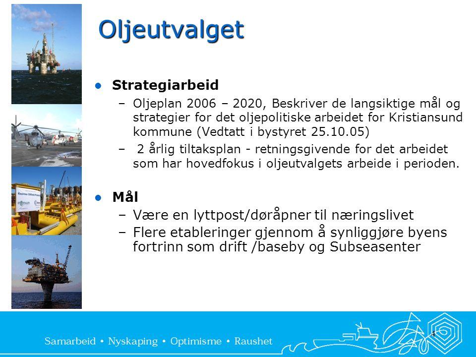 4 Oljeutvalget  Strategiarbeid –Oljeplan 2006 – 2020, Beskriver de langsiktige mål og strategier for det oljepolitiske arbeidet for Kristiansund komm