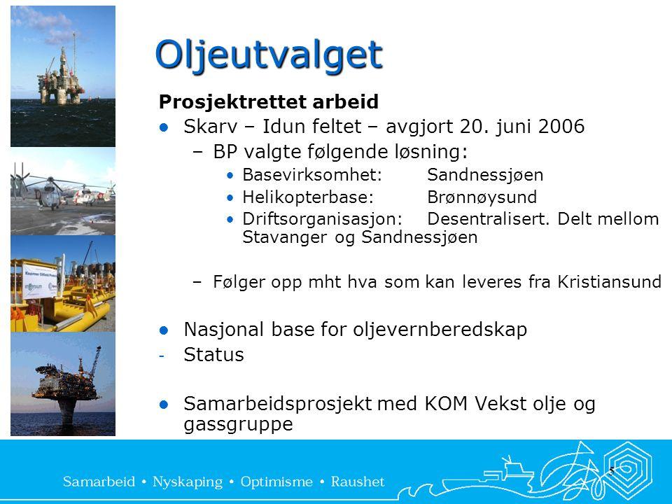 5 Oljeutvalget Prosjektrettet arbeid  Skarv – Idun feltet – avgjort 20. juni 2006 –BP valgte følgende løsning: •Basevirksomhet:Sandnessjøen •Helikopt