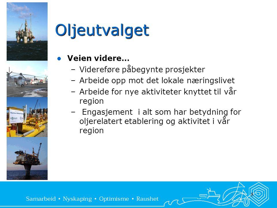 8 Oljeutvalget  Veien videre… –Videreføre påbegynte prosjekter –Arbeide opp mot det lokale næringslivet –Arbeide for nye aktiviteter knyttet til vår region – Engasjement i alt som har betydning for oljerelatert etablering og aktivitet i vår region