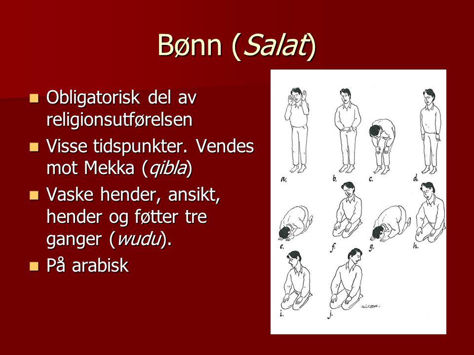 Bønn (Salat)  Obligatorisk del av religionsutførelsen  Visse tidspunkter. Vendes mot Mekka (qibla)  Vaske hender, ansikt, hender og føtter tre gang
