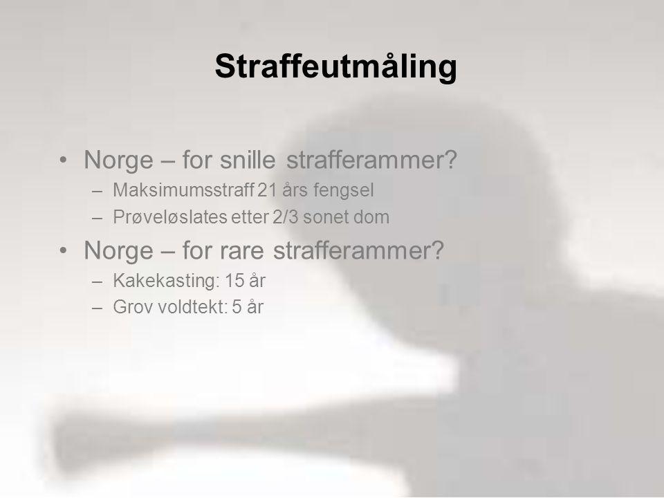 Straffeutmåling •Norge – for snille strafferammer.