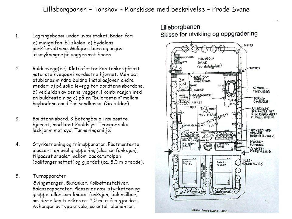 Lilleborgbanen – Torshov - Planskisse med beskrivelse – Frode Svane 1.Lagringsboder under uværstaket. Boder for: a) minigolfen, b) skolen, c) bydelens